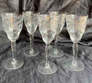 5 crystal floral etched cordial/ wine glasses
