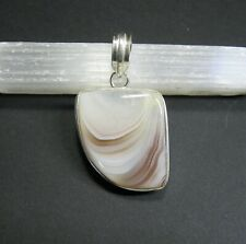 Natural, White and Caramel, Botswana Agate Gemstone Pendant - 925 Stamped