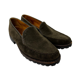 Cole Haan Olive Green Suede Leather Lug Sole Slip On Moc Toe Loafers Size 8.5 B