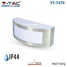 V-TAC LAMPADA DA MURO APPLIQUE DA GIARDINO E27 ACCIAIO INOX ESTERNO IP44 VT-7670