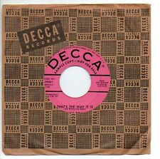 JANET BRACE 45 Record THAT'S THE WAY IT IS / IF YOU KNEW MINT PROMO decca sleeve