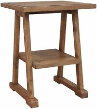 Marriott reclaimed pine furniture side end lamp table with shelf