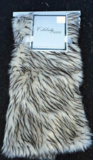 "Celebrity Home Luxury Faux Fur Throw Blanket Black & Beige Mix ~ 50""x60"""