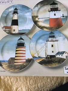 Set 4 David Carter Brown Collection Lighthouse Salad Plates By The Sea