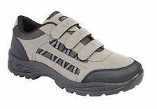 MENS BLACK GREY SIZE 7 8 9 10 11 12 HOOK AND LOOP TOUCH FASTENING STRAP TRAINER