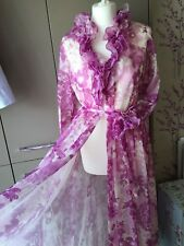 Vintage 1970s Frilly High Neck Negligee Nightie  House Robe Double layer Nylon