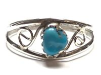 Vintage Ladies Sterling Silver Turquoise Ring - Size 7.75