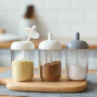 Kitchen Supplies Seasoning Bottle Salt  Storage Box Spice Jar With Spoon