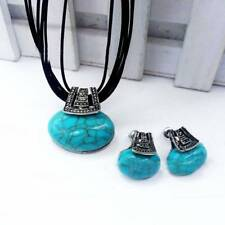 Charm Women Girls Boutique Turquoise Earrings Pendant Necklace Jewelry Sets