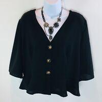 Boohoo Womens Blouse Black Peplum Button Front Kimono Sleeves V-Neck Size 12