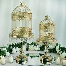 "Gold 2 Metallic 13"" and 9"" tall Bird Cages Wedding Card Holder Centerpieces"