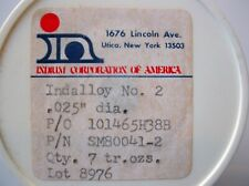"""INDALLOY #2 SOLDER 0.025"""" DIA 3' LENGTH 80%IN/15%PB/5%AG INDIUM CORP OF AMERICA"""