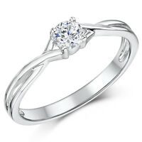 9ct White Gold  Engagement Ring Diamond Solitaire Quarter Third or Half Carat