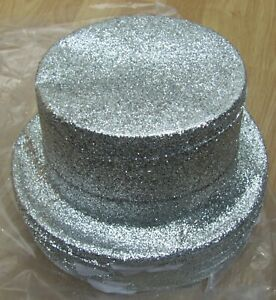 20 x Top Hat, Glitter Cabaret Toppers, Hen stag night Fancy Dress silver x 20