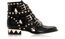 SOPHIA WEBSTER RIKO Blk Ankle studded gold flat boots motorcyle New UK 4 EU 37 7