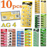 10PCS AG4 AG13 LR44 SR44 L1154 357 A76 Button Coin Cell Pack Alkaline Batteries