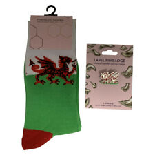Wales, Welsh Dragon themed Ladies Gifts, Novelty Socks or Lapel Pin Badges