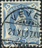 SUISSE / SWITZERLAND / SCHWEIZ - Mi.75C 25c blue Wmk.1 p.11-1/2x11 - VEVEY 1907
