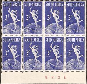 "South Africa 1949 3d U.P.U.dot under ""POSUNIE"" VARIETY, SG.130, UM block of 8"