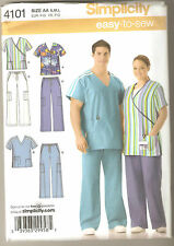 Simplicity Sewing Pattern 4101 Easy To Sew Adult Scrub Top Pants Jacket Sz S-L