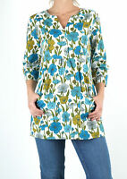 SEASALT Womans Blue Green Aventurier Floral Tunic Ladies Top With Pockets Blouse