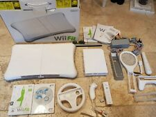 Nintendo Wii Fit Console With Mario Kart Bundle Remote Nunchuck Wheel VGC