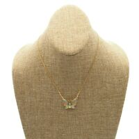 Vintage 16 Inch Gold Tone Chain Fashion Necklace With Enamel Butterfly Pendant