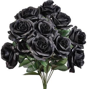 "12 Faux 4"" Open Roses Bouquet Silk Flowers Wedding Centerpiece Decor Artificial"