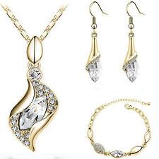 Turkey 18K Gold Plated Crystal CZ Necklace Earrings Bracelet Women Jewelry Set