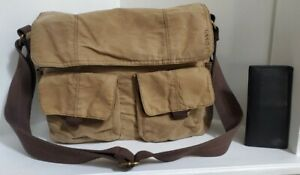 """FOSSIL Medium Brown Canvas  Messenger or Laptop Bag 15"""" x 12"""" with FOSSIL wallet"""