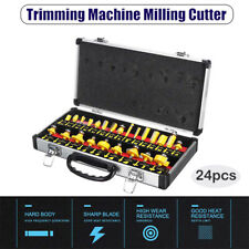 "Yellow Router Bit Set 24PCS 1/4"" Shank Handle Wood Work Milling Cutter Tool"
