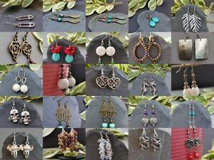 Handmade dangle drop boho tibetan silver mineral stone brass earrings