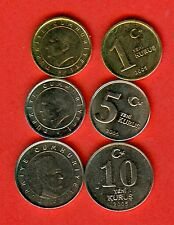 TURKEY  0.01, 0.05, 0.10 - 1, 5, 10 kurus issue 2005 - 3 pc. SET UNC