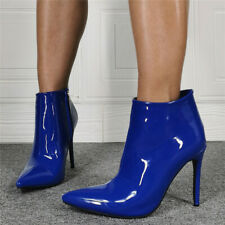 Womens Shiny Patent Leather Pointed Toe Ankle Riding Boots High Heels Stilettos