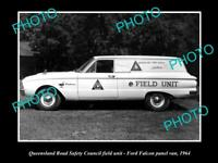 OLD 8x6 HISTORIC PHOTO OF QUEENSLAND ROAD SAFETY COUNCIL CAR FORD FALCON 1964