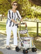 METAL 4 WHEEL SHOPPING TROLLEY / WALKER WITH SEAT. NEW IN BOX. AUSSIE SELLER ! !