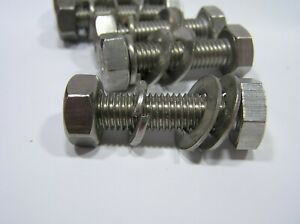M10 x 40mm A4 Stainless Steel Hex BOLT / NUT / 2 FLAT 1 SPRING WASHER SET x 5