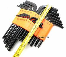 New 25-pc ALLEN BALL HEX Key Set Ball End Long Arm L Allen SAE/Metric Hex Set
