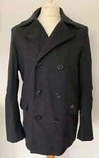 Smart Work Jacket Size Medium Grey Double Breasted Mens Wool Blend Winter