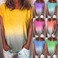US Women Summer Gradient Tops Casual Loose T-Shirt Short Sleeve Blouse Plus Size