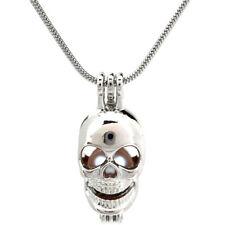 "Pick a Pearl Skull Locket Pendant Bead Cage 22"" Steel Snake Chain S-KP60"