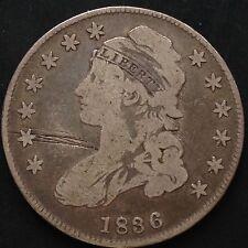 Estados unidos 1836 capped Bust half dólares 50 centavos filadelfia plata raramente 3454