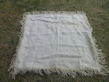 """Natural Tan Burlap Square Tablecloth Fully Lined 46"""" x 50"""" w 5"""" Fringe"""