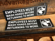 "2x Employees Must Wash Hands Sign 2"" x 8"""