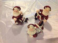Set of 3 Hand Painted Ceramic Santa's