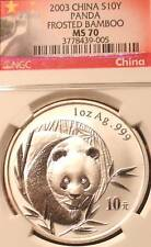 2003 SILVER PANDA NGC MS 70 CHINESE GREAT WALL BEAUTY OF CHINA FROSTED BAMBOO !
