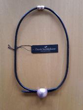 Dansk Smykkekunst Kette kurze Halskette schwarzes Leder rosevergoldetes Element