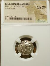 KINGDOM OF MACEDON - ALEXANDER III DRACHM 323-317 BC CH XF NGC CHOICE EXTRA FINE