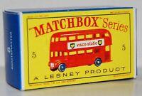 Matchbox Lesney No  5  ROUTEMASTER BUS style D Repro empty Box