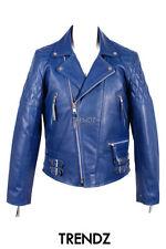 Cappotti e giacche da uomo blu in pelle